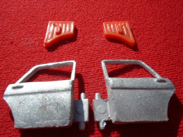 Dinky Toys 164 Ford Zodiac Mk IV {rear Left and Right doors with RED Plastic trims}  (Set price)